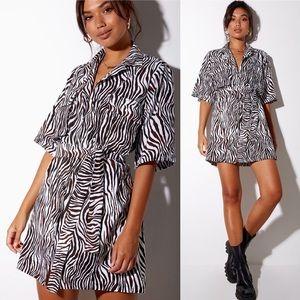 Pamela Shirt Dress in Vertical Zebra